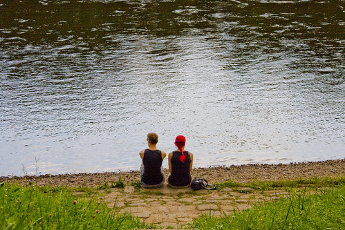Funky couple on the river bank