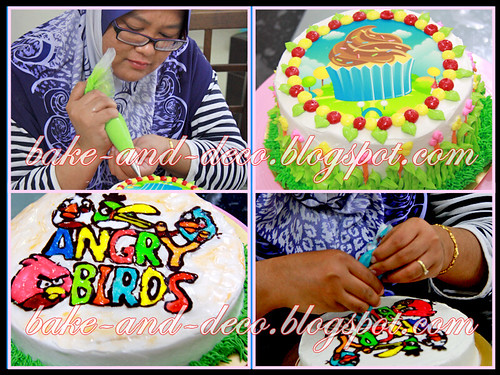 Baking & Deco Class: Basic Buttercream Cake + Drawing on Buttercream Cake (Personal Class) ~ 27 July 2012