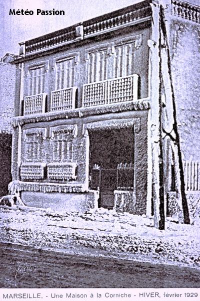 maisons de la Corniche couvertes de glace à Marseille, lors de la vague de froid de février 1929 météopassion