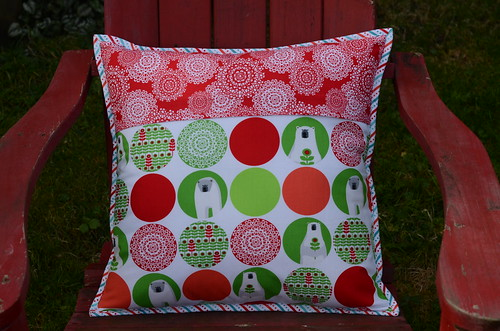 Brrr! half-square pillow back by Poppyprint