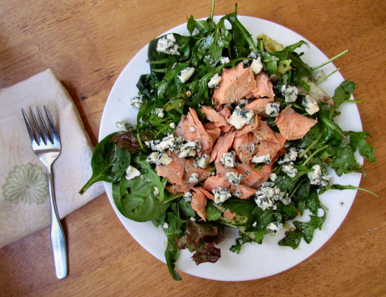 Bleu Cheese Salmon and Arugula Salad