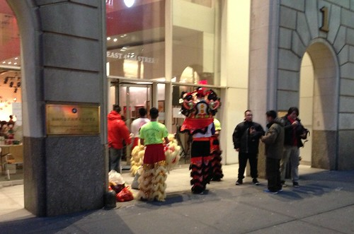 Readying for a Chinese New Year celebration, 42nd St.