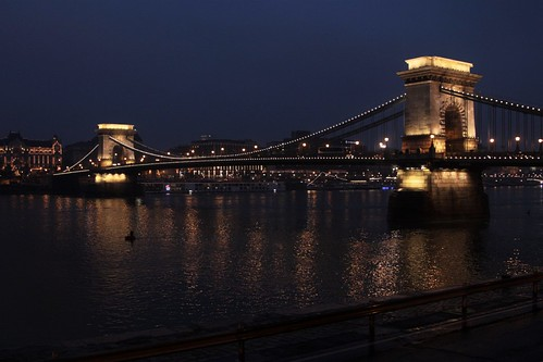 Budapest Chain Bridge lit up by night