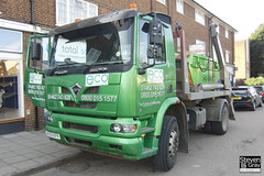 Foden Alpha 220 4x2 Skip Loader - Green - Eco Waste & Recycling - AE55 EFR - Hitchin - M1 J10 - Steven Gray - CIMG1914