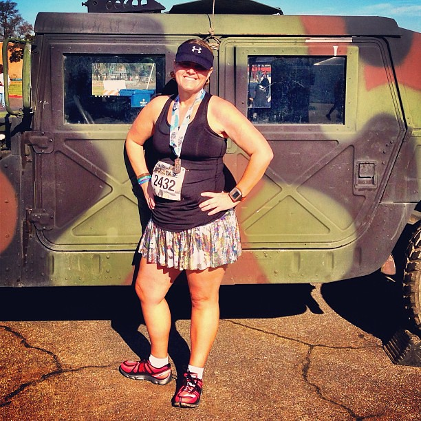 Race on the Base 10K Finisher! Got tons of compliments on my @runTeamSparkle camouflage skirt! #raceonthebase #teamsparkle