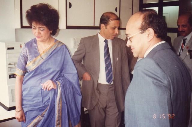 Zaveri demonstrating personla computer to Ms Lila Poonawala