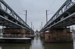 Balade dans la neige - Double pont ferroviaire au dessus de la Moselle