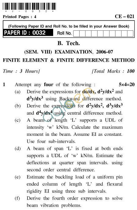 UPTU B.Tech Question Papers - CE-021-Finite Element & Finite Difference Method