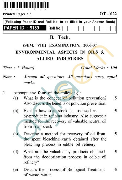 UPTU B.Tech Question Papers -OT-022 - Environmental Aspects In Oils & Allied Industries