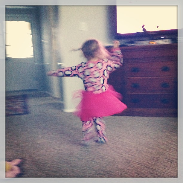 Blurry I know. She is twirling. #saturdaymorning