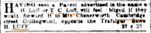 Package for H Luff or T. C. Luff in Argus Melbourne 19 October 1853