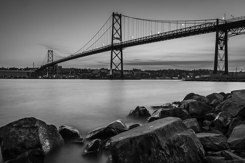 blackandwhite bridge dartmouth halifax halifaxharbour macdonaldbridge ns novascotia rocks