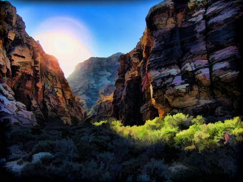 redrockcanyon sunset painted nevada iceboxcanyon redrockcanyonnationalconservationarea haloes sb2013