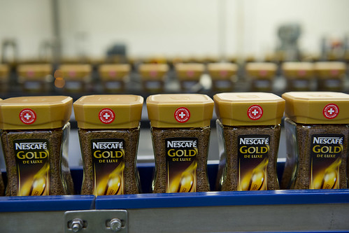 Nescafé jars on the production line