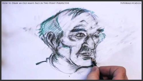 learn how to draw an old man's face in two point perspective 031