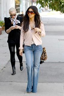 Kourtney Kardashian Flared Jeans Celebrity Style Women's Fashion