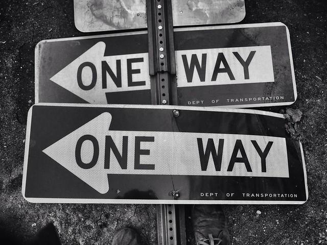 Grounded one way sign #walkingtoworktoday
