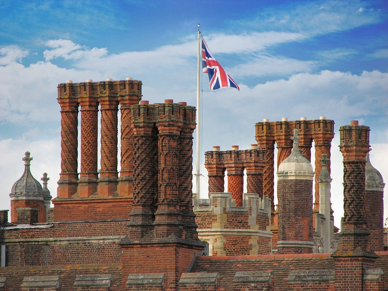 Decorative Tudor chimneys of Hampton Court Palace. Credit Cristian Bortes