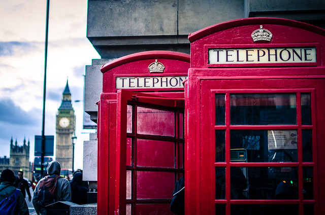 You can many of find Britain's iconic red telephone boxes near London's Big Ben.
