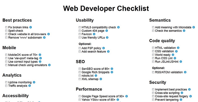 Web Developer Checklist