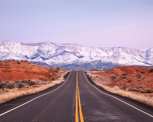 road morning travel winter red usa snow mountains yellow rock dawn early utah highway unitedstates horizon roadtrip line transportation getty roadtripping laverkin pinevalleymountains