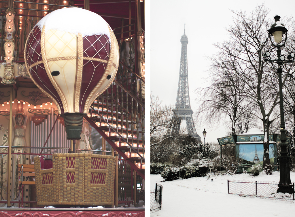 Eiffel Tower in the snow from the Champs de Mars and a carousel hot air balloon