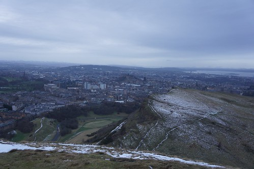 Looking down to Salisbury Crags from Arthur's Seat, Edinburgh