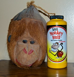 Our Coconut monkey from Hawaii and Anti Monkey Butt powder