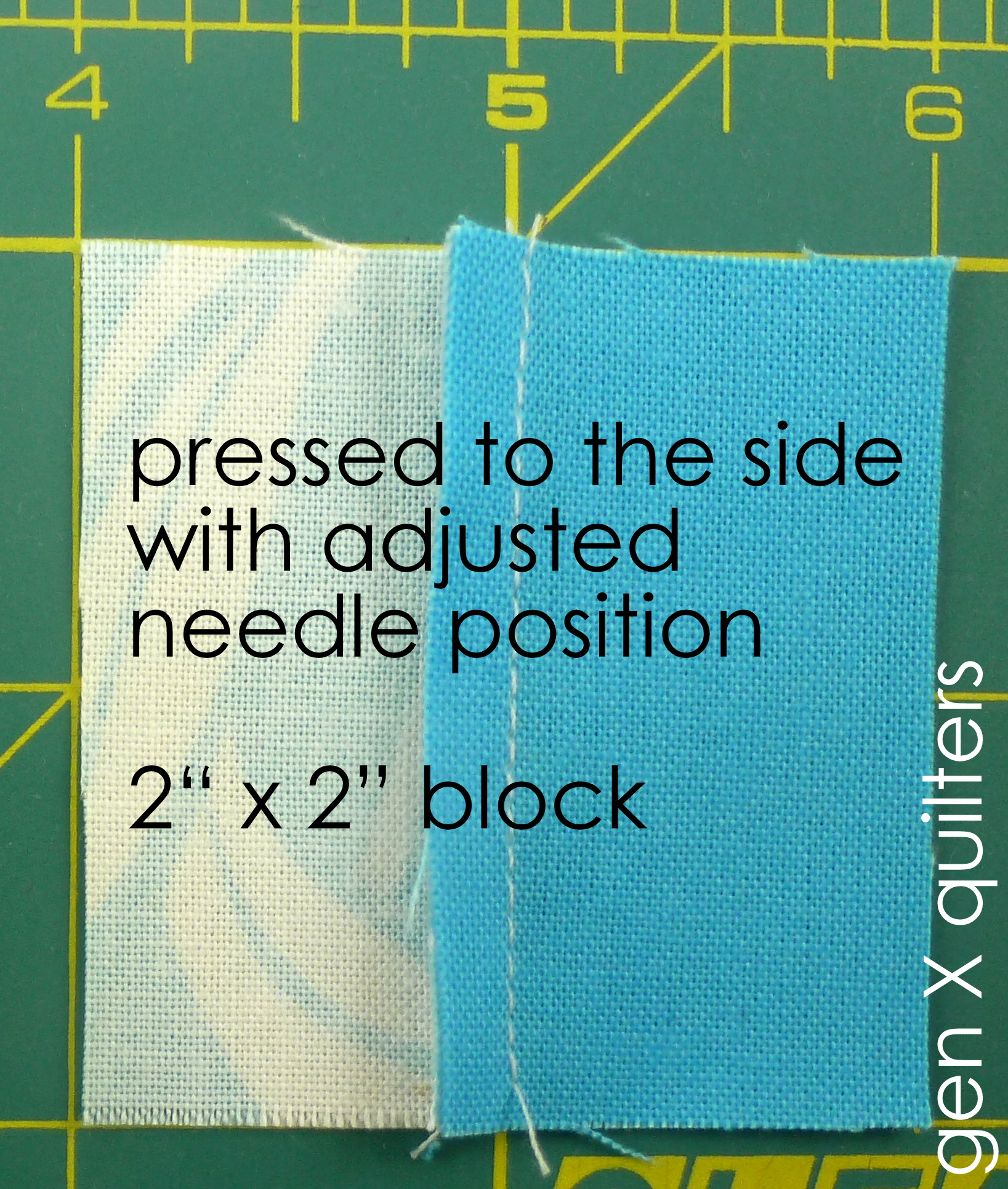 block with seam pressed to side with adjusted needle position