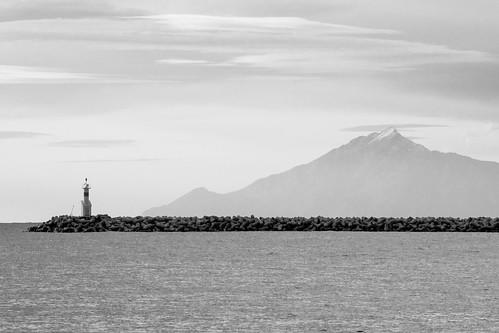 sea bw lighthouse mountain landscape greece lemnos mirina