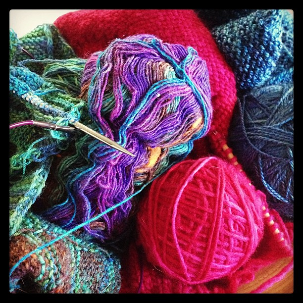 Bowl of knits in progress -new coffeetable centerpiece.
