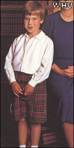 1987 William and Harry are pictured here at Balmoral in 1987.kilt1