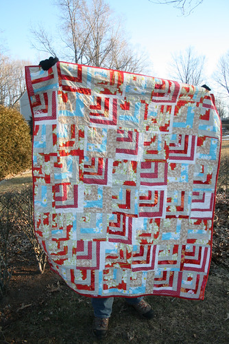 Red Quarter Cabin Quilt
