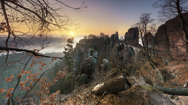 Sunrise behind Bastei bridge