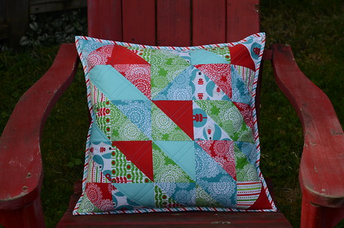 Brrr! half square pillow by Poppyprint