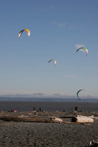 Kite surfers at Ocean Shores