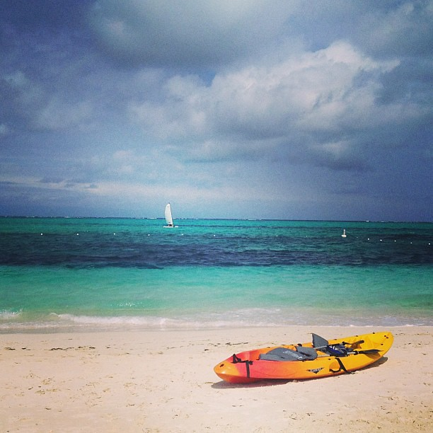 Kayaking on choppy seas at Grace Bay Beach