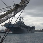 May 4, 2007. amphibious assault ship USS BOXER, LHD-4, leaves Fremantle - Ian Johnson.