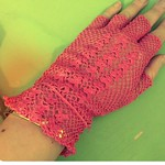 Pink net fingerless glove from tag sale in Port Washington