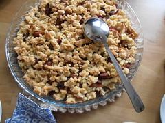 coconut(0.0), produce(0.0), meal(1.0), breakfast(1.0), vegetarian food(1.0), apple crisp(1.0), food(1.0), dish(1.0), dessert(1.0), cuisine(1.0), snack food(1.0), crumble(1.0),