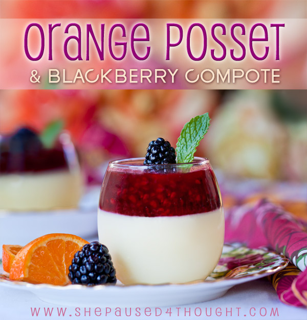 Orange Posset & Blackberry Compote by Cathy nelson arkle