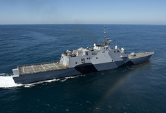 USS Freedom (LCS 1) operates off the coast of Southern California Feb. 22 during sea trials. (U.S. Navy photo by Mass Communication Specialist 1st Class James R. Evans)