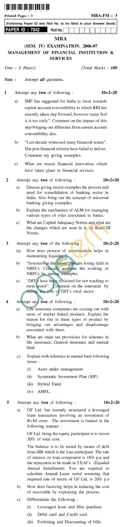 UPTU  MBA Question Papers - MBA-FM-3-Management of Financial Institution & Services