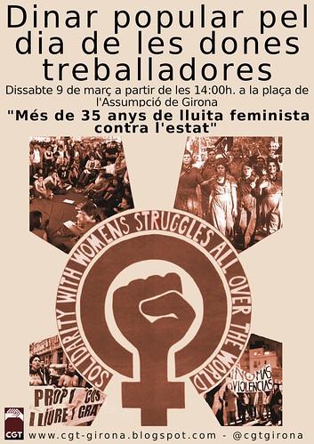Cartell dinar 9 de març a girona de les dones treballadores. Més de 35 de lluita feminista contra l´estat