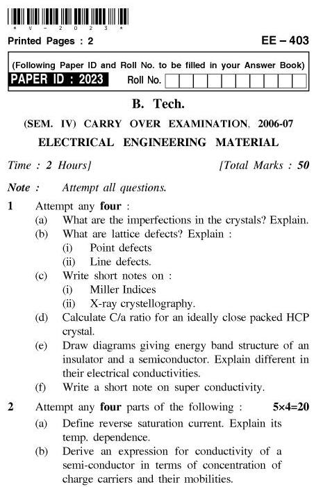 UPTU: B.Tech Question Papers - EE-403-Electrical Engineering Material