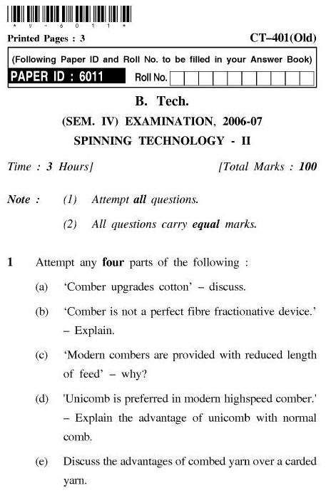 UPTU B.Tech Question Papers - CT-401(Old) - Spinning Technology-II