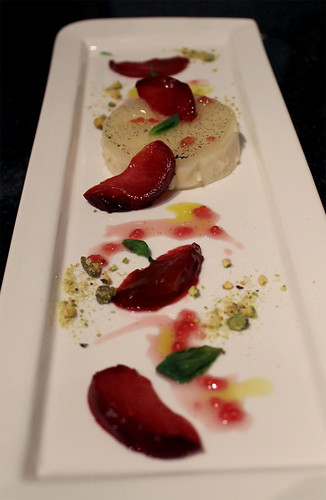 Buttermilk Panna Cotta, Plums, Pistachios, and Basil