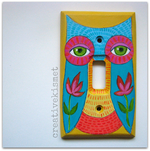 custom owl light switch plate