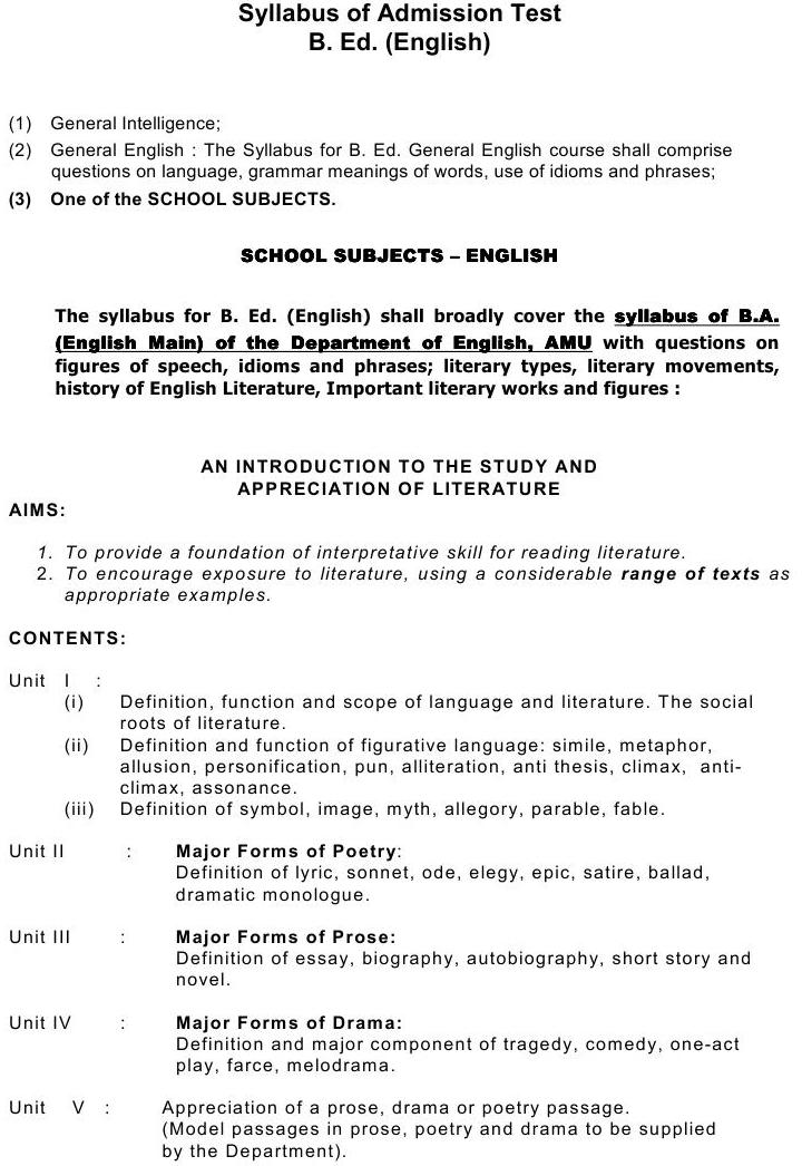 AMU Syllabus  - Social Science - B. Ed. (English)