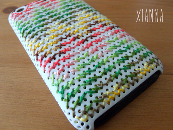 DIY embroidered iPhone case